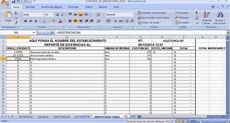 plantilla para inventarios personales plantilla en excel para control de inventario control de