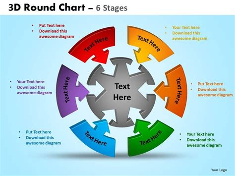 sales process flowchart ppt 3d chart 6 stages powerpoint slides and ppt