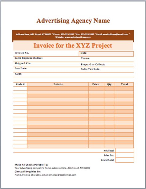marketing invoice template advertising invoice images