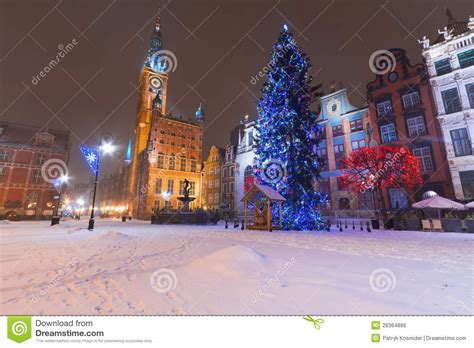 gdansk in winter scenery with christmas tree stock photo