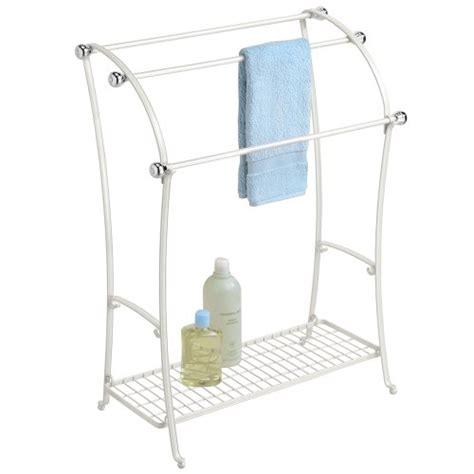 white bathroom towel racks mdesign free standing towel rack for bathroom pearl