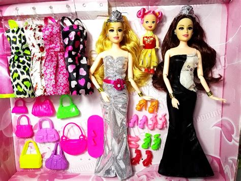 3 dolls fashion 3 pc fashion doll doll set big gift 36 accessories