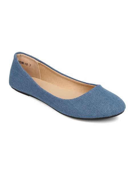 Flat Shoes Denim Wanita new refresh demi 10 denim toe ballerina flat ebay