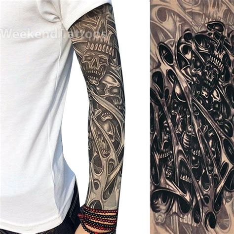 temporary tattoo sleeve skulls slip on elastic arm