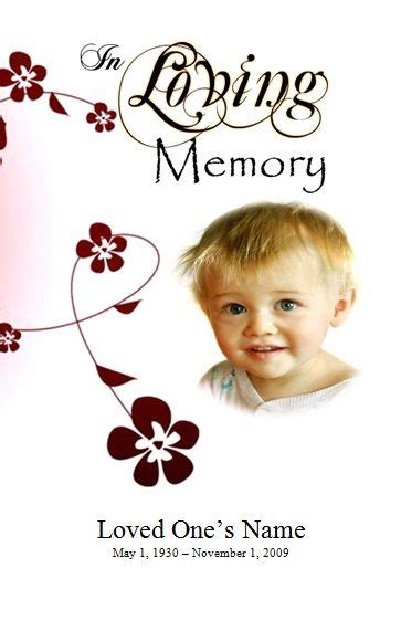 flowers single fold memorial program program template
