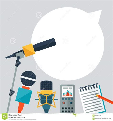 press on wallpaper background with journalism icons stock vector
