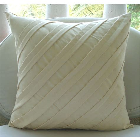 Cream Decorative Pillow Cover Square Textured Pintucks Pillow Covers For Sofa