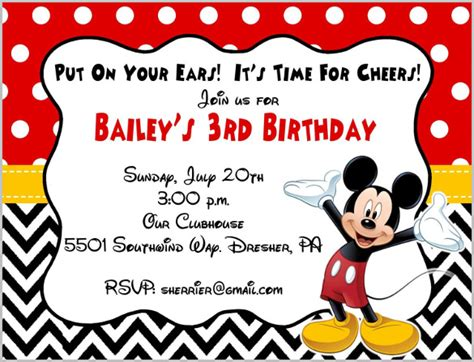 mickey mouse birthday invitation card template mickey mouse invitation templates 29 free psd vector