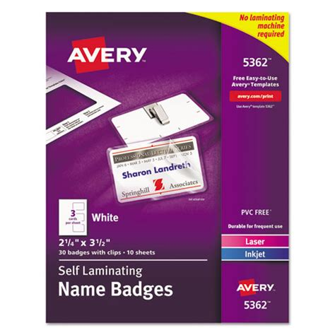 Avery Laminated Id Cards Template by Avery 5362 Self Laminating Laser Inkjet Printer Badges 2