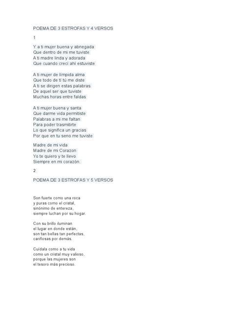 poemas cortos de 4 estrofas poema de 3 estrofas y 4 versos
