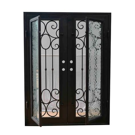 Wrought Iron And Glass Doors Grafton Exterior Wrought Iron Glass Doors Castle Light Collection Black Right Inswing