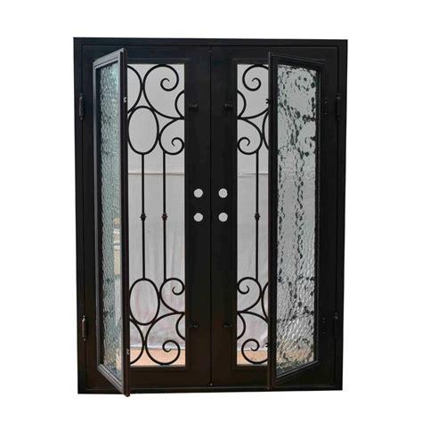 Exterior Wrought Iron Doors Grafton Exterior Wrought Iron Glass Doors Castle Light Collection Black Right Inswing