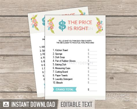 printable price is right bridal shower game bridal shower party ivory floral theme the price is right