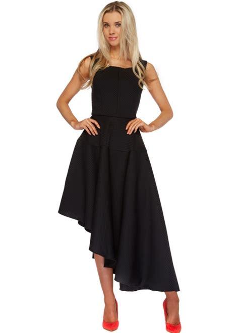 Asymmetric Skater Dress 9487 Black goddiva black asymmetric skater midi dress