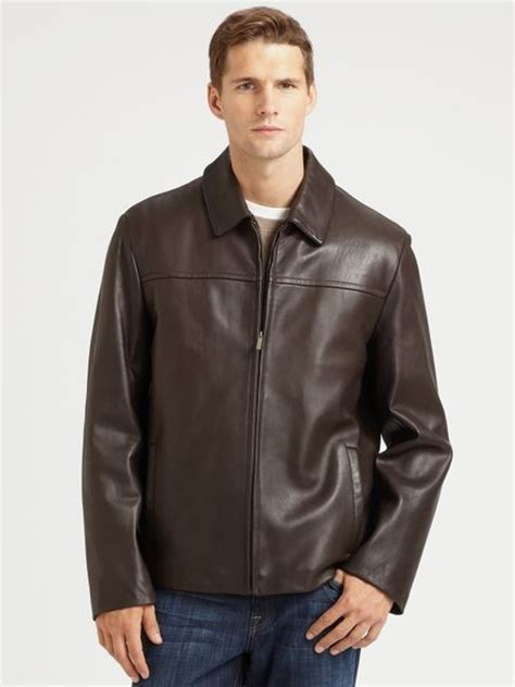 cole haan brown leather jacket cole haan leather jacket in brown for lyst