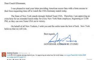 Permission Letter Because Of Sick New York Governor Andrew Cuomo Allows Ny To Usa At World Cup 2014 Daily Mail