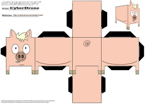 Pig Papercraft - image detail for printable pig cube craft paper toys