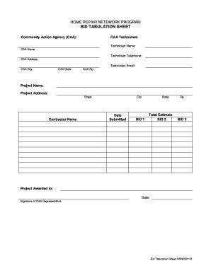 Home Repair Netework Program Bid Tabulation Sheet Fill Online Printable Fillable Blank Construction Bid Tabulation Template
