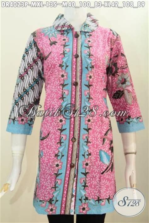 Baju Terusan Cewek Pakaian Wanita Dress Dua Warna Asimetris Clo367 shop produk batik jawa tengah modern kombinasi dua motif pakaian batik printing model