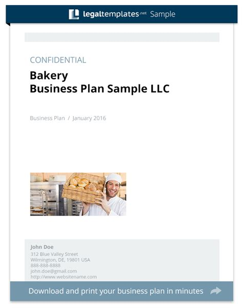 bakery business plan sle templates