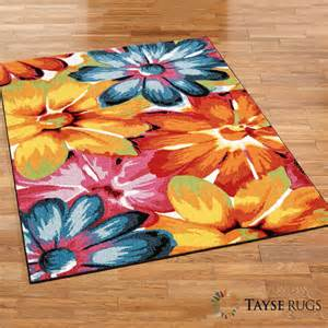 bright blooms multicolored floral area rugs