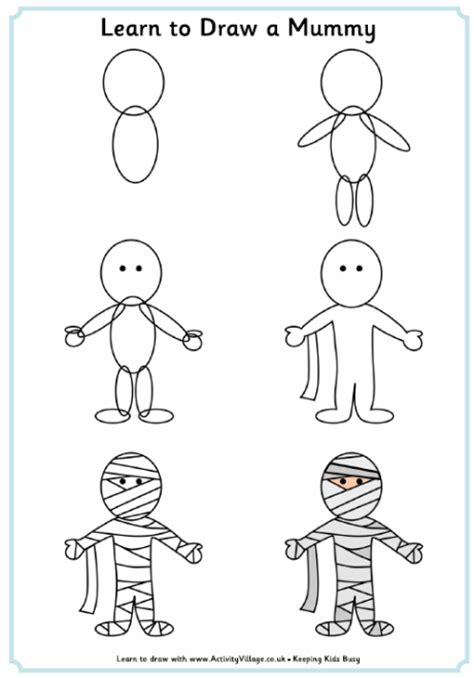 learn to draw how to draw a mummy
