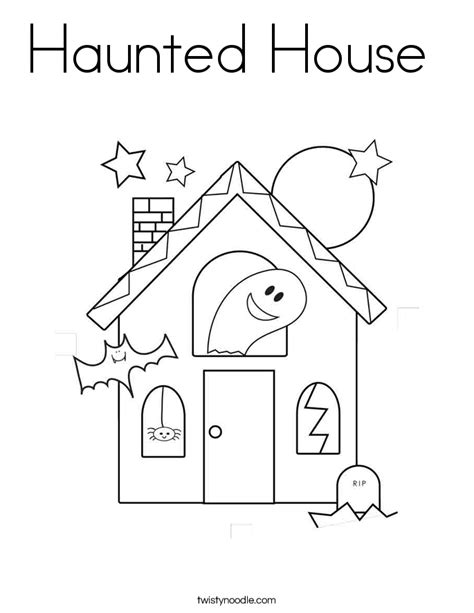 Haunted House Coloring Page Twisty Noodle Haunted House Colouring Pages