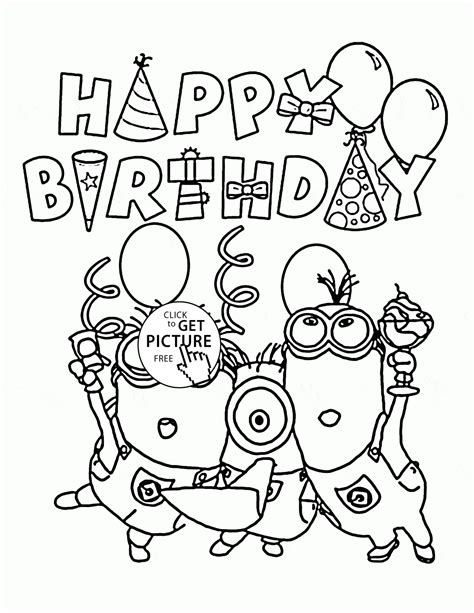 minions coloring pages birthday happy birthday from minions coloring page for kids
