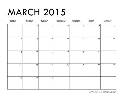 blank calendar march 2015