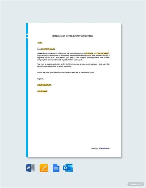 internship offer rejection letter template word