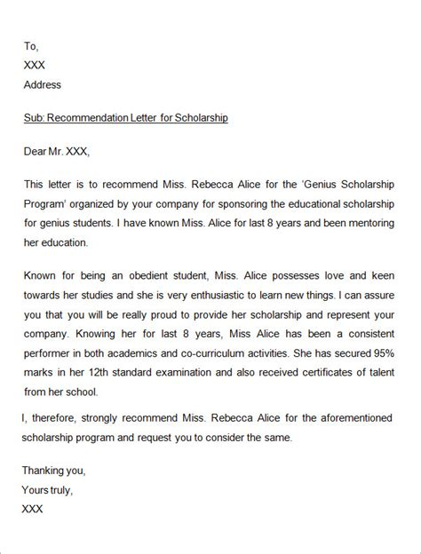 Scholarship Letter Format Doc Sle Letter Of Recommendation For Scholarship 10 Free Documents In Word