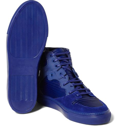 blue suede balenciaga sneakers balenciaga paneled leather and suede high top sneakers in