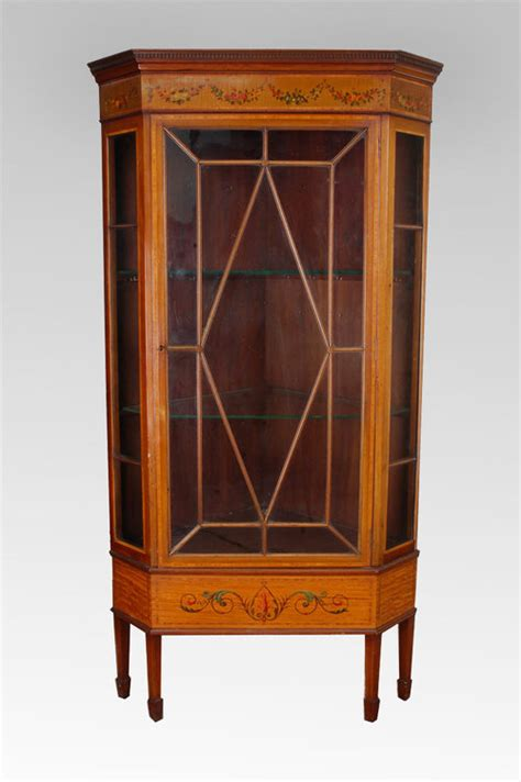 edwardian satinwood display cabinet for sale antiques