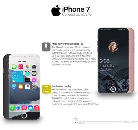 Aaron Type Iphone 7 iphone 7 concept with ios 10 rendered with usb type c port and borderless display