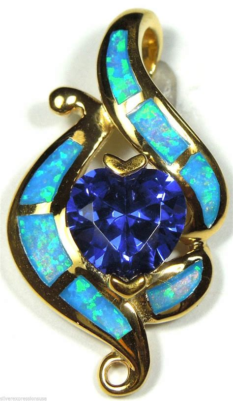 blue opal necklace gold plated heart tanzanite blue fire opal inlay 925