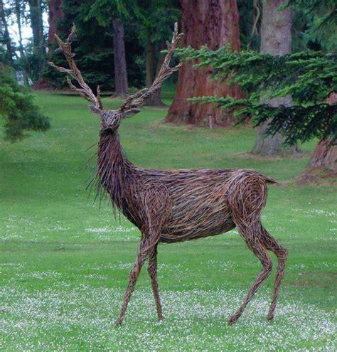 john malkovich driftwood wicker sculpture scone stag by trevor leat gardening