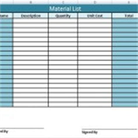 material list template project work plan template in excel xls exceltemple