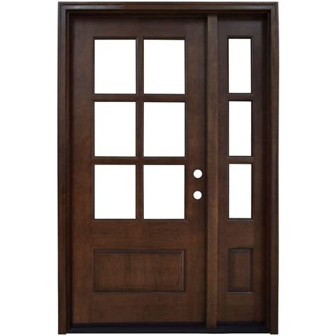 Home Depot Wood Exterior Doors Steves Sons 54 In X 80 In Left 6 Lite Clear Stained Mahogany Wood Prehung