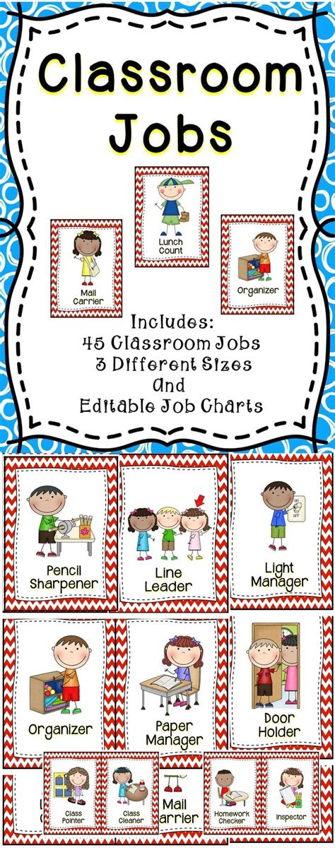 Classroom Jobs Editable Back To School September Pinterest Classroom Jobs Classroom Classroom Templates