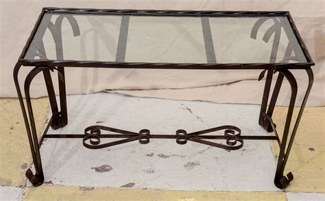 French 1940 S Wrought Iron Glass Top Coffee Table At 1stdibs Glass Wrought Iron Coffee Table