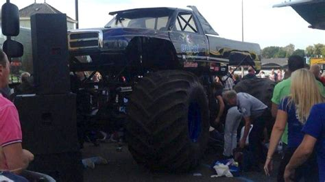 monster truck crash videos monster truck kills two adults and a child in horrible
