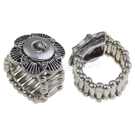 zinc alloy noosa snap ring setting flower platinum color plated with rhinestone blacken lead