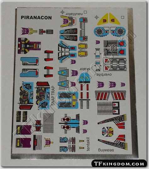 Transformers G1 Sticker Sheets transformers g1 piranacon sticker decal sheet