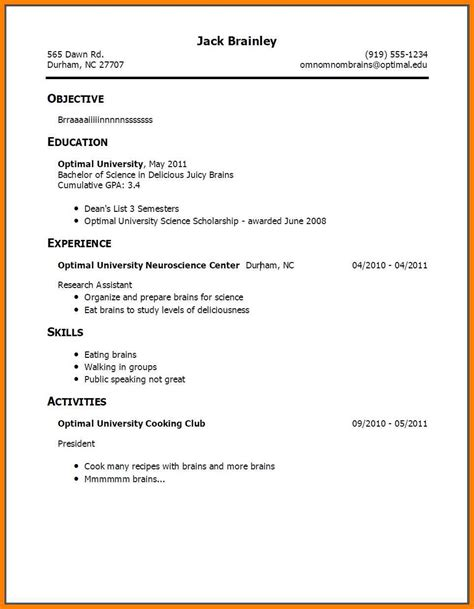 sle high school resume with work experience 12226 resume for no experience college student sle