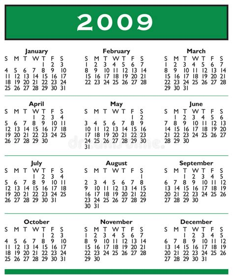 April 2009 Calendar 2009 Calendar Year Royalty Free Stock Photography