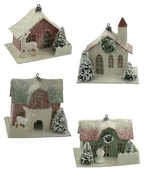 traditional paper christmas decorations traditional paper house ornaments bethany lowe small putz houses theholidaybarn