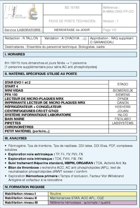 modele fiche de poste document
