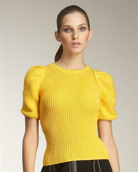 Puff Sleeve Sweater by Fendi Puff Sleeve Sweater In Yellow Lyst