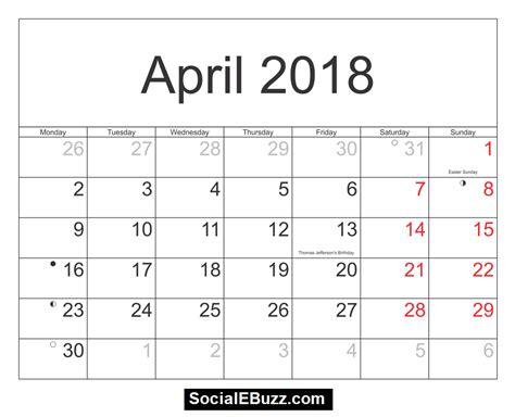 printable calendar april 2018 april 2018 calendar printable template with holidays pdf