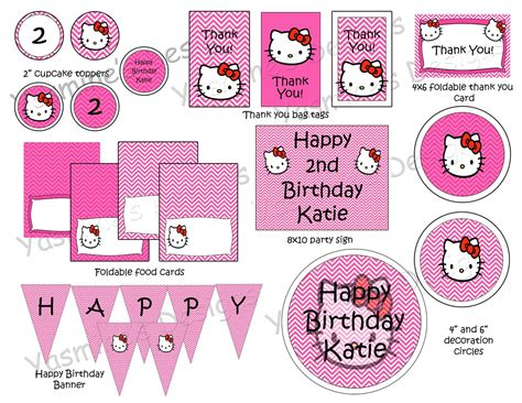 hello kitty printable party decorations free pink and white hello kitty birthday party package custom